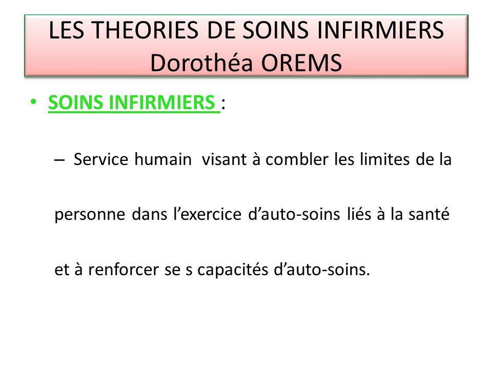 LES THEORIES DE SOINS INFIRMIERS Dorothéa OREMS