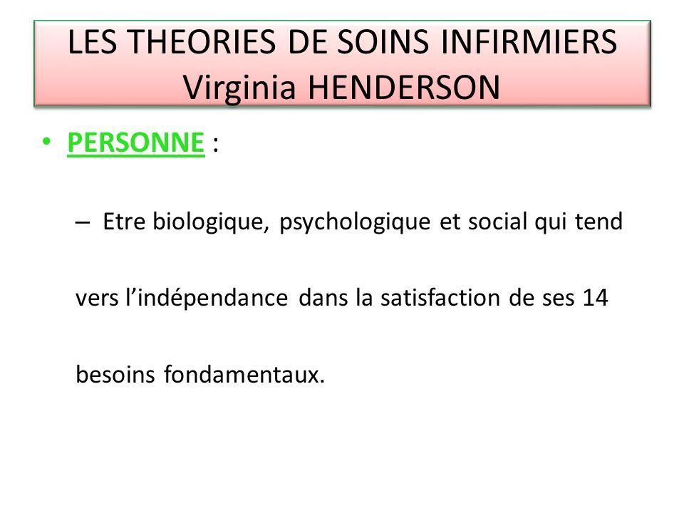 LES THEORIES DE SOINS INFIRMIERS Virginia HENDERSON