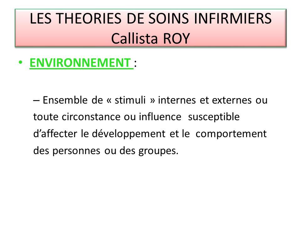 LES THEORIES DE SOINS INFIRMIERS Callista ROY