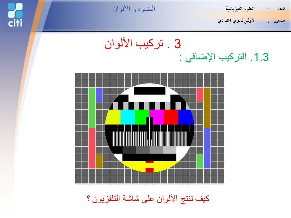كيف تنتج الألوان على شاشة التلفزيون ؟