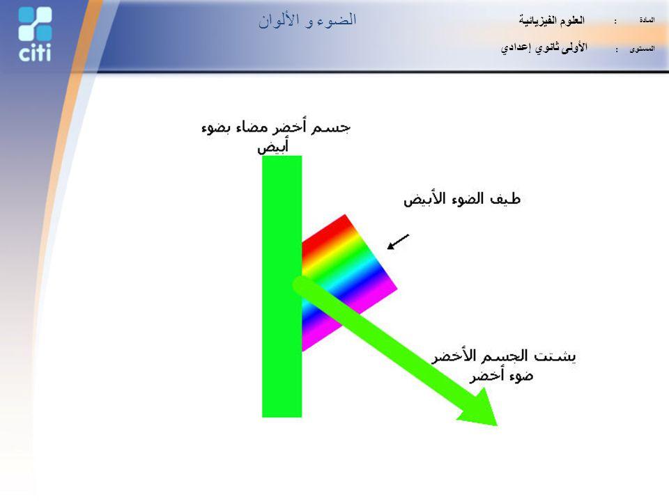 الضوء و الألوان العلوم الفيزيائية الأولى ثانوي إعدادي المادة :