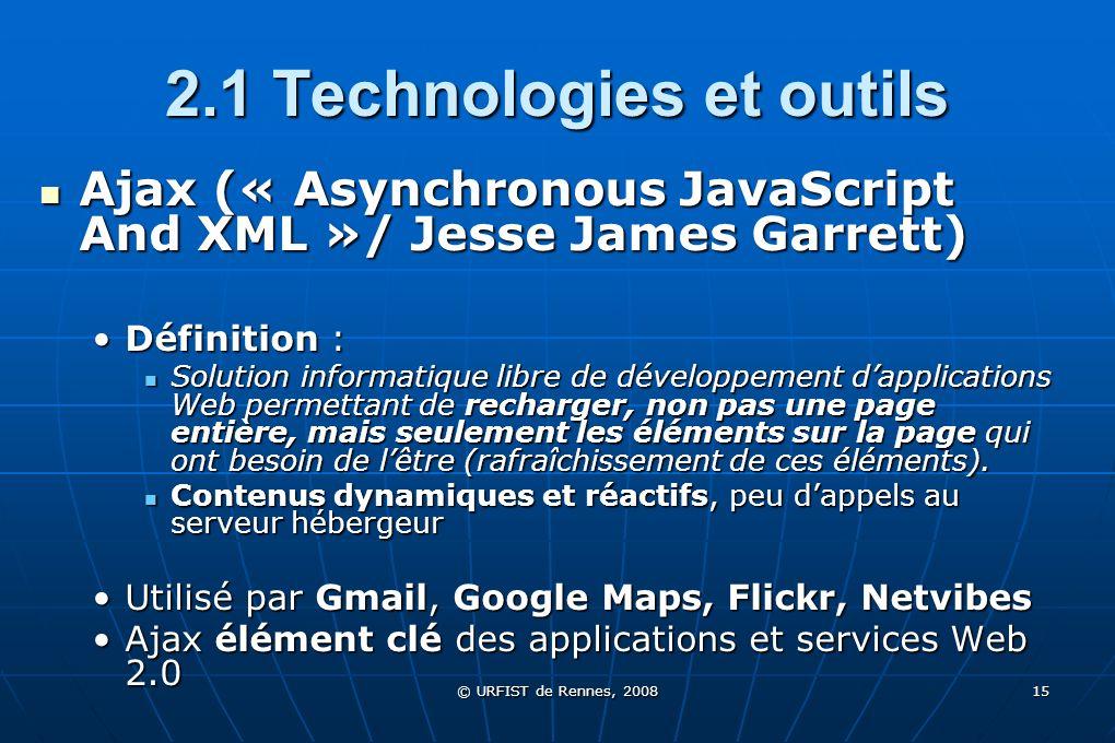 2.1 Technologies et outils