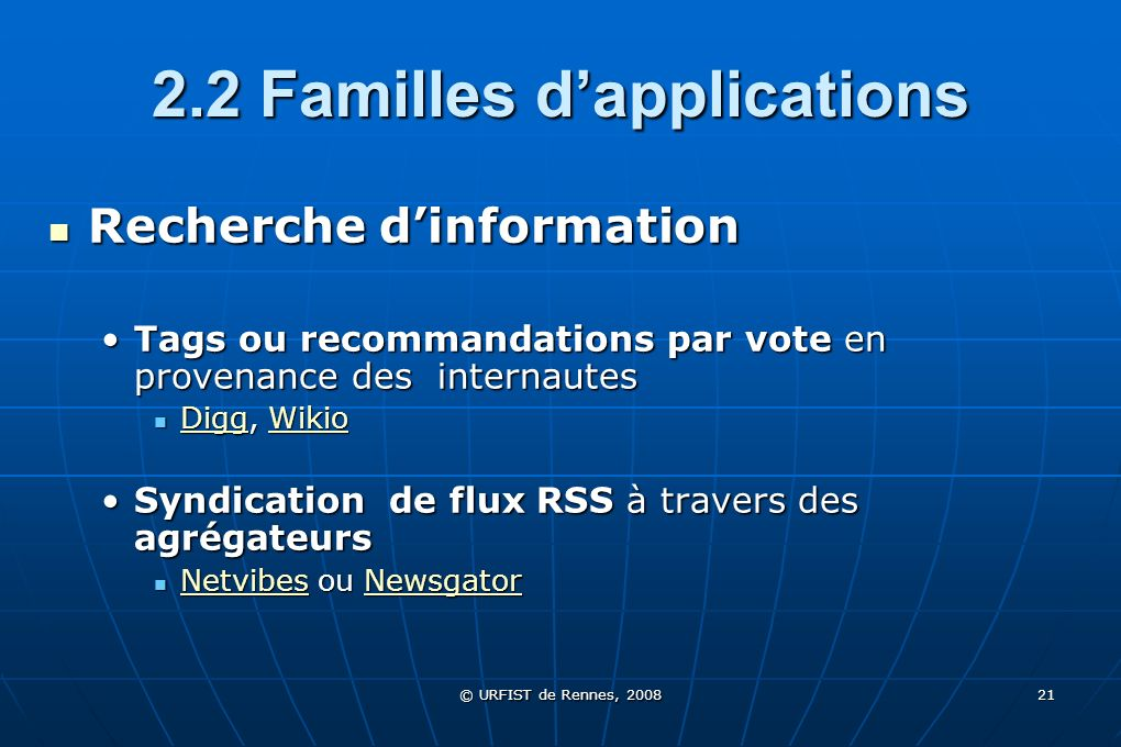 2.2 Familles d'applications