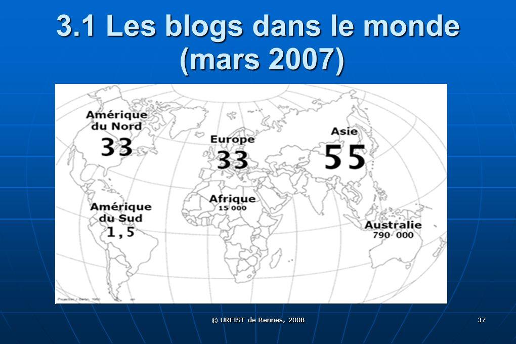 3.1 Les blogs dans le monde (mars 2007)