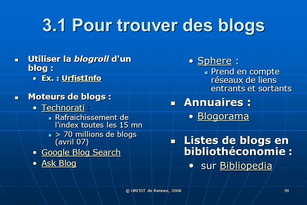 3.1 Pour trouver des blogs Annuaires :