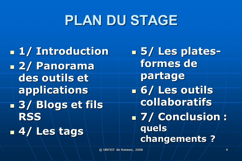 PLAN DU STAGE 1/ Introduction 2/ Panorama des outils et applications