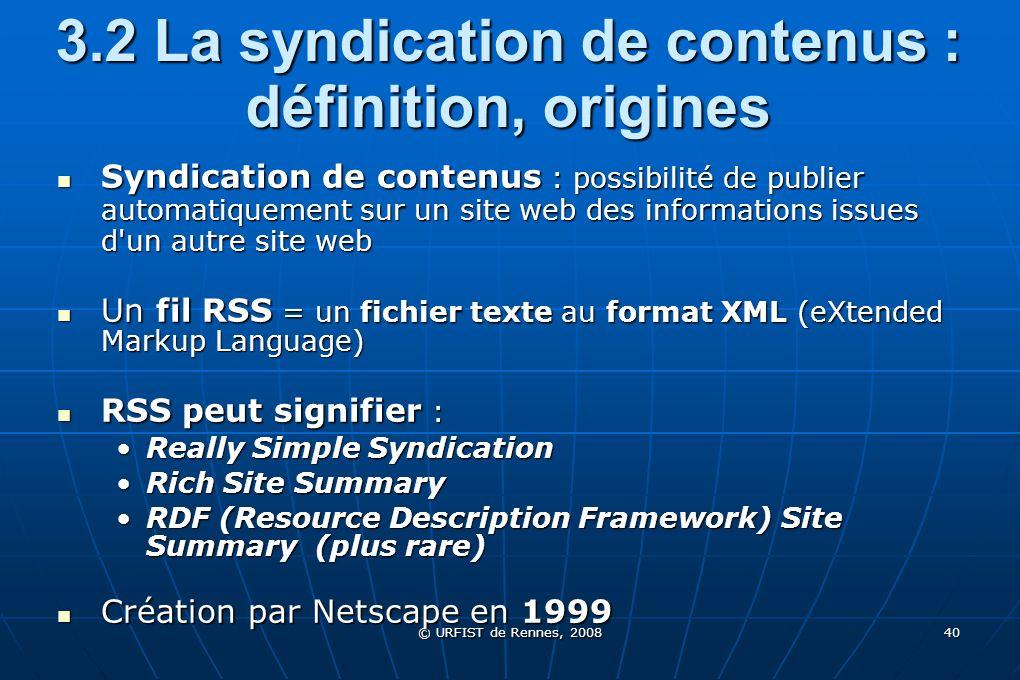 3.2 La syndication de contenus : définition, origines