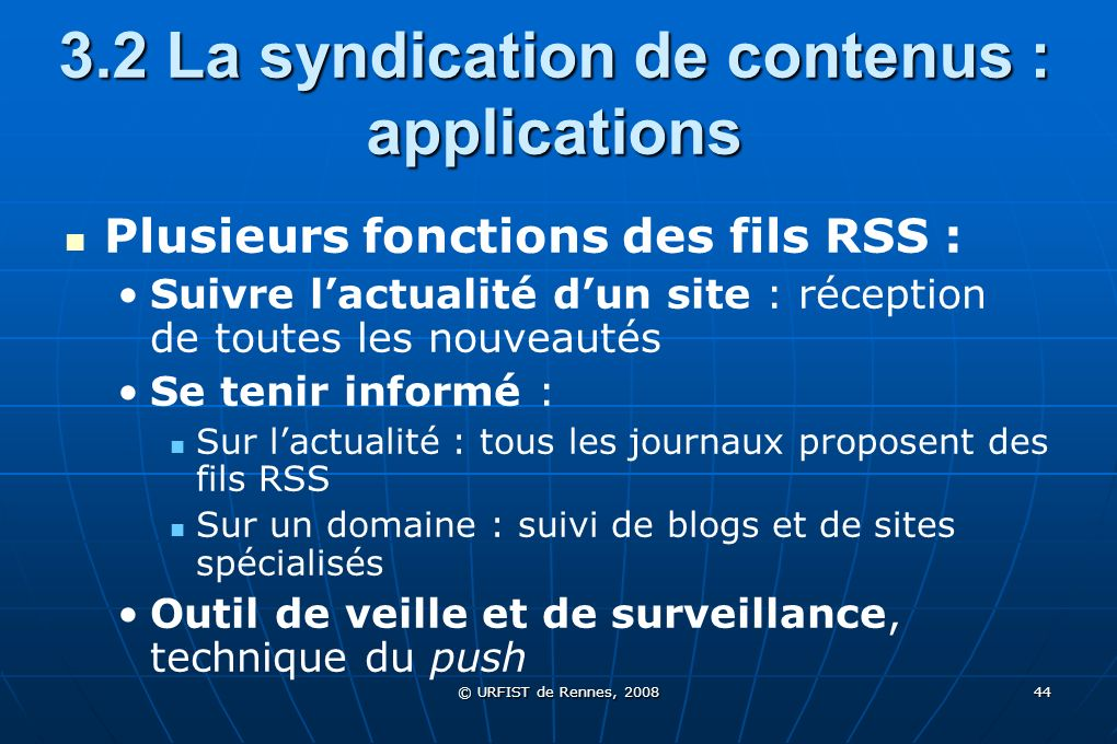 3.2 La syndication de contenus : applications