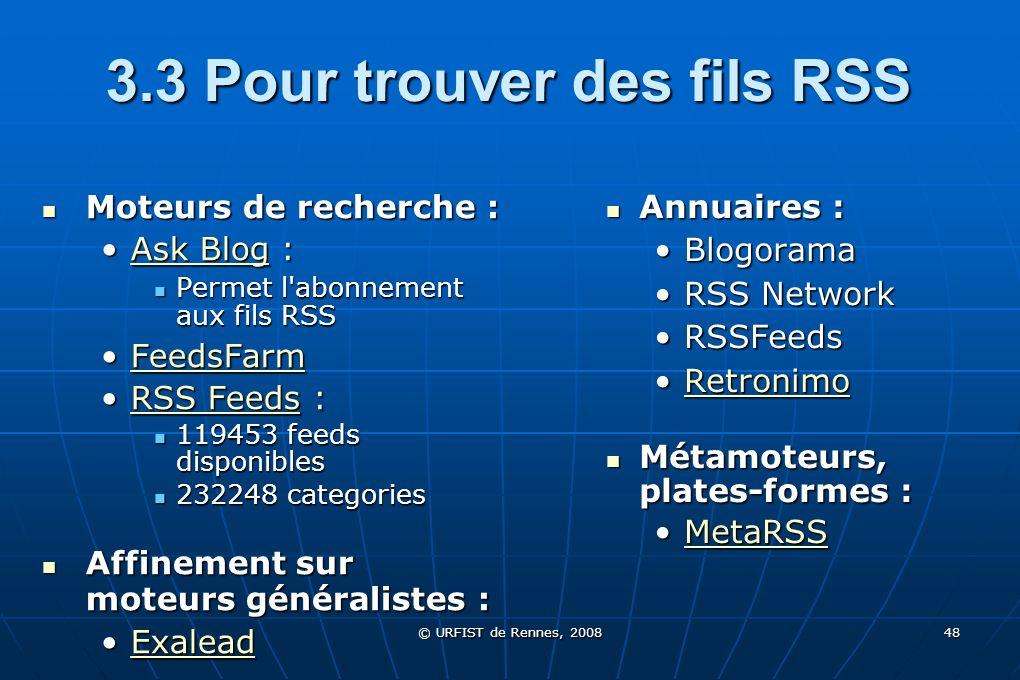 3.3 Pour trouver des fils RSS