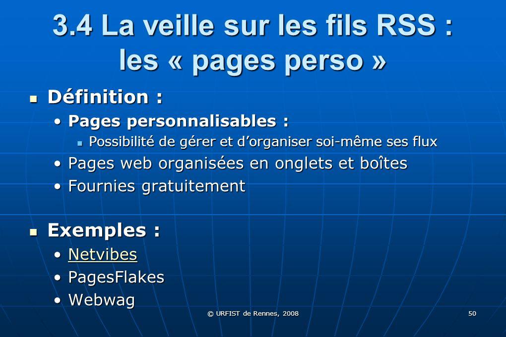 3.4 La veille sur les fils RSS : les « pages perso »