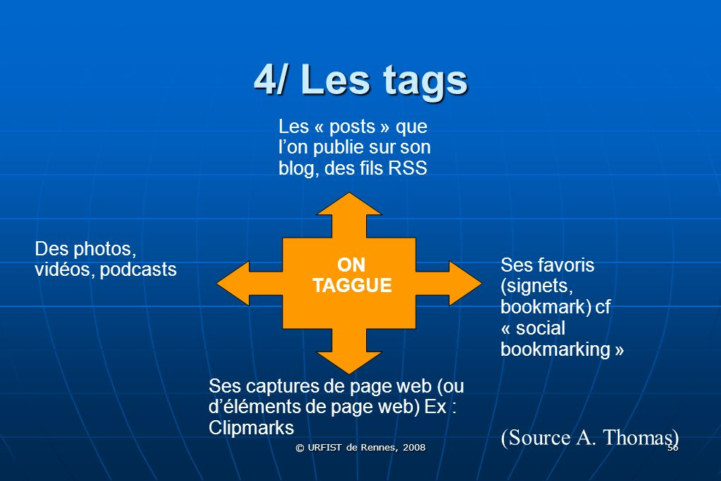 4/ Les tags (Source A. Thomas)