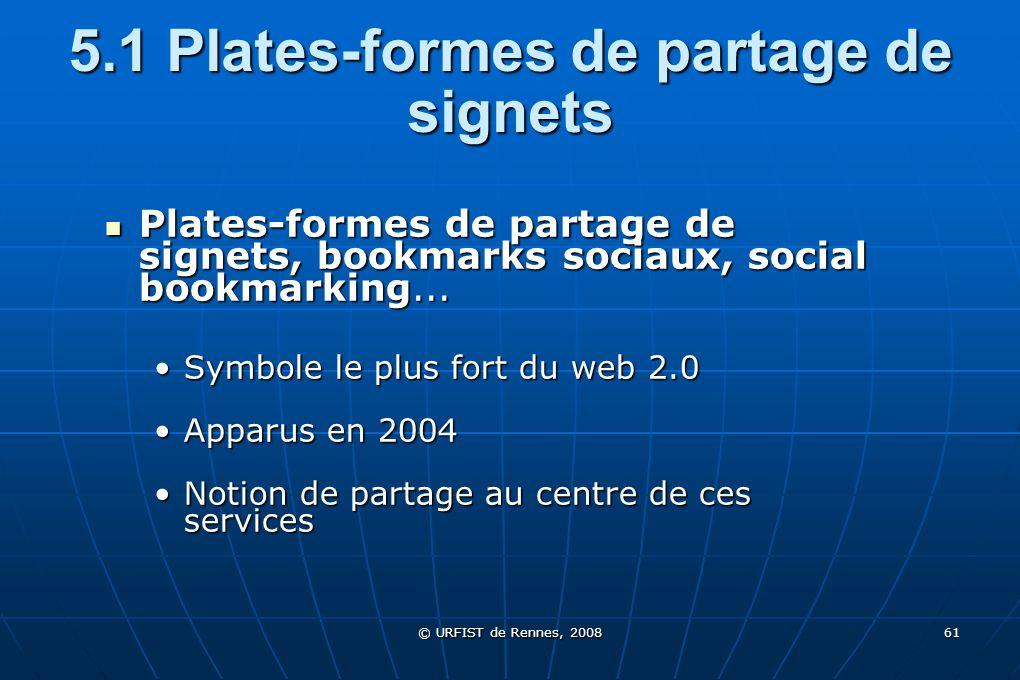 5.1 Plates-formes de partage de signets