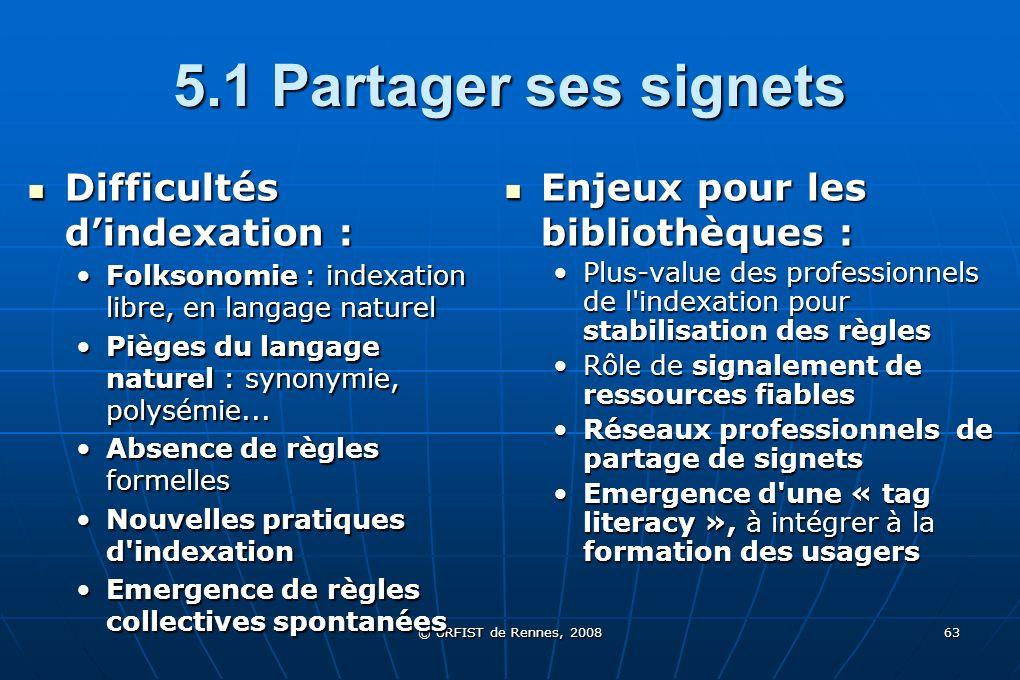 5.1 Partager ses signets Difficultés d'indexation :