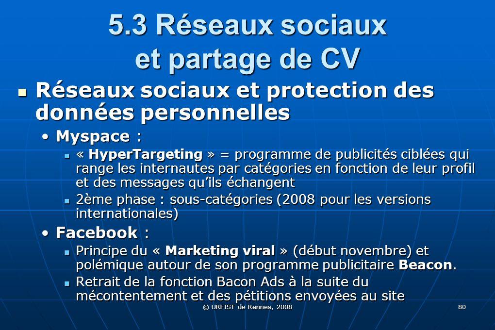 5.3 Réseaux sociaux et partage de CV