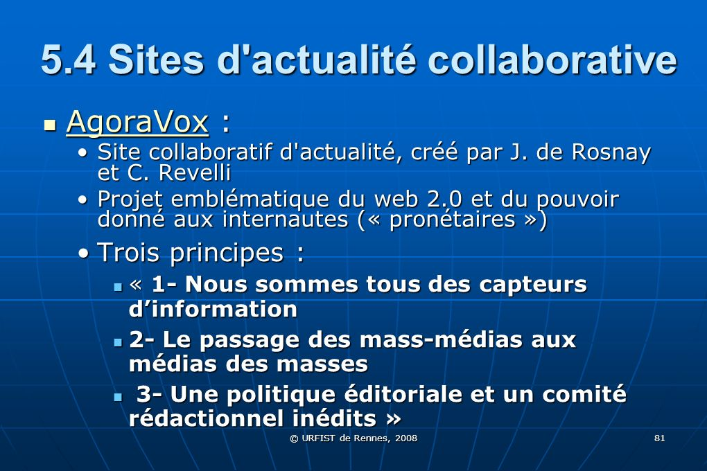 5.4 Sites d actualité collaborative