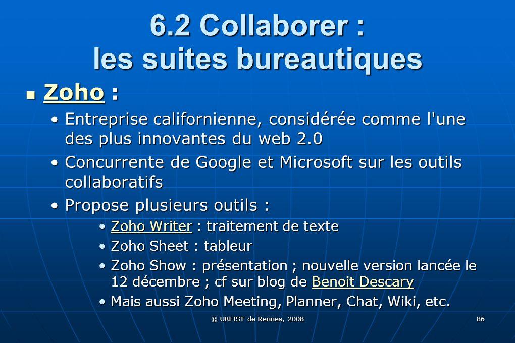 6.2 Collaborer : les suites bureautiques