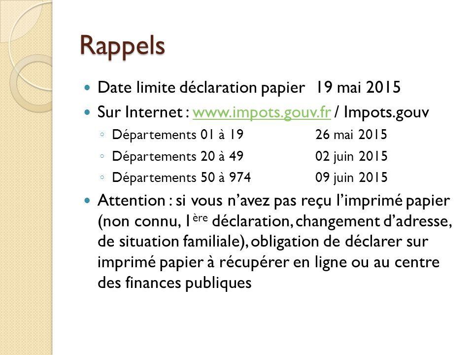 D claration des revenus ppt video online t l charger for Declaration changement d adresse