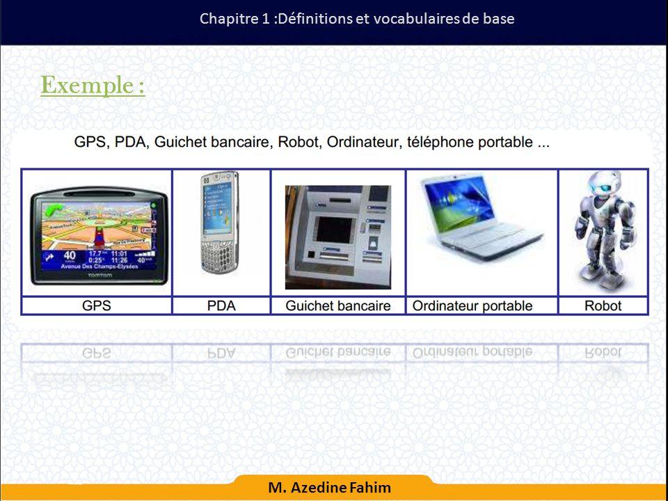 Exemple : Chapitre 1 :Définitions et vocabulaires de base