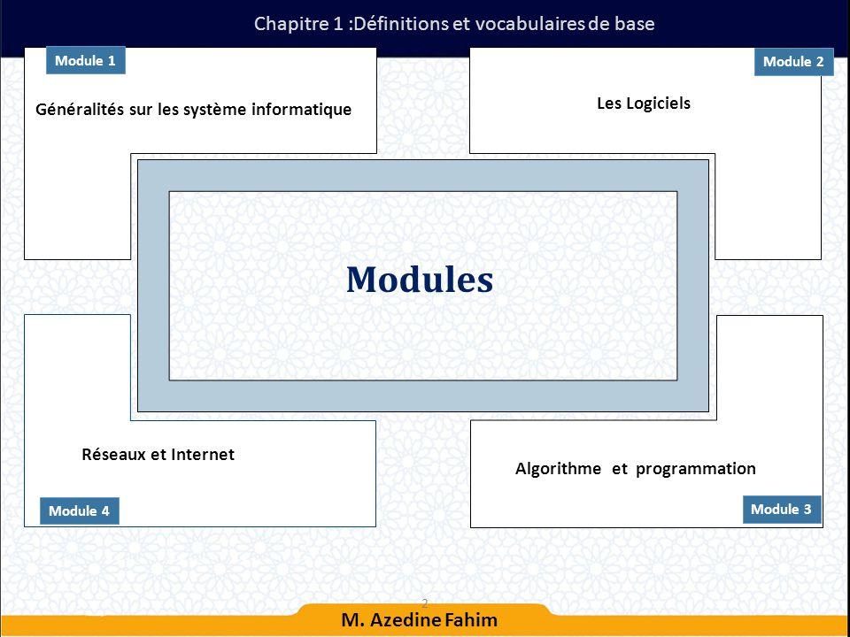 Modules Chapitre 1 :Définitions et vocabulaires de base