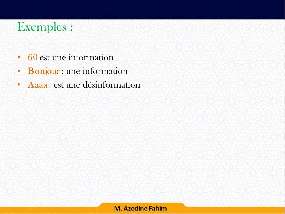 Exemples : 60 est une information Bonjour : une information