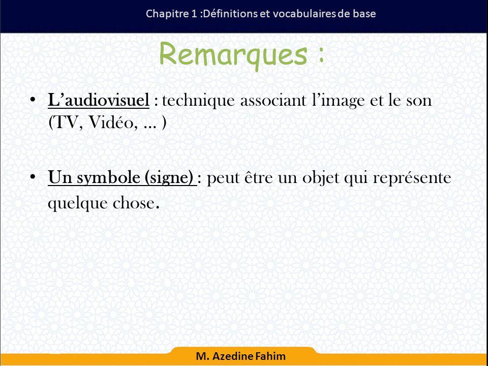 Chapitre 1 :Définitions et vocabulaires de base