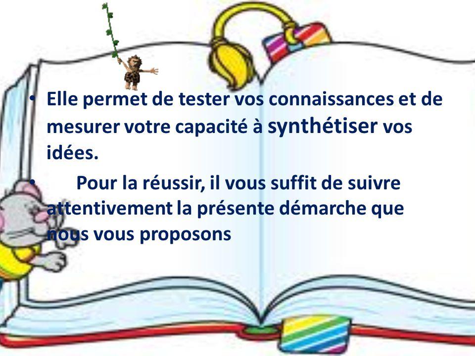 Elle permet de tester vos connaissances et de mesurer votre capacité à synthétiser vos idées.