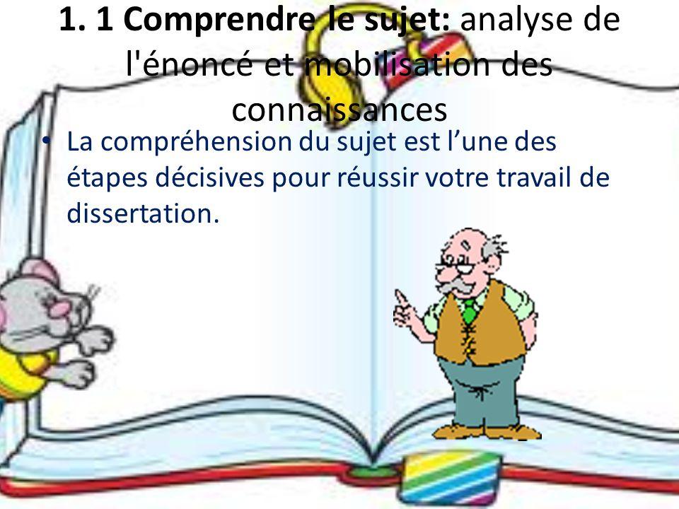 1. 1 Comprendre le sujet: analyse de l énoncé et mobilisation des connaissances
