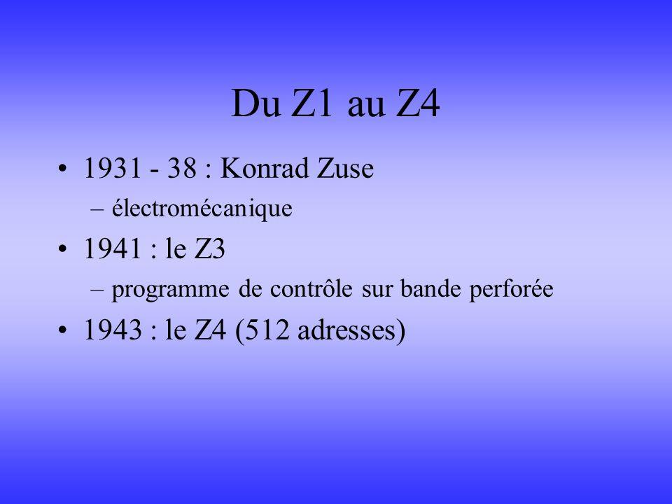 Du Z1 au Z4 1931 - 38 : Konrad Zuse 1941 : le Z3