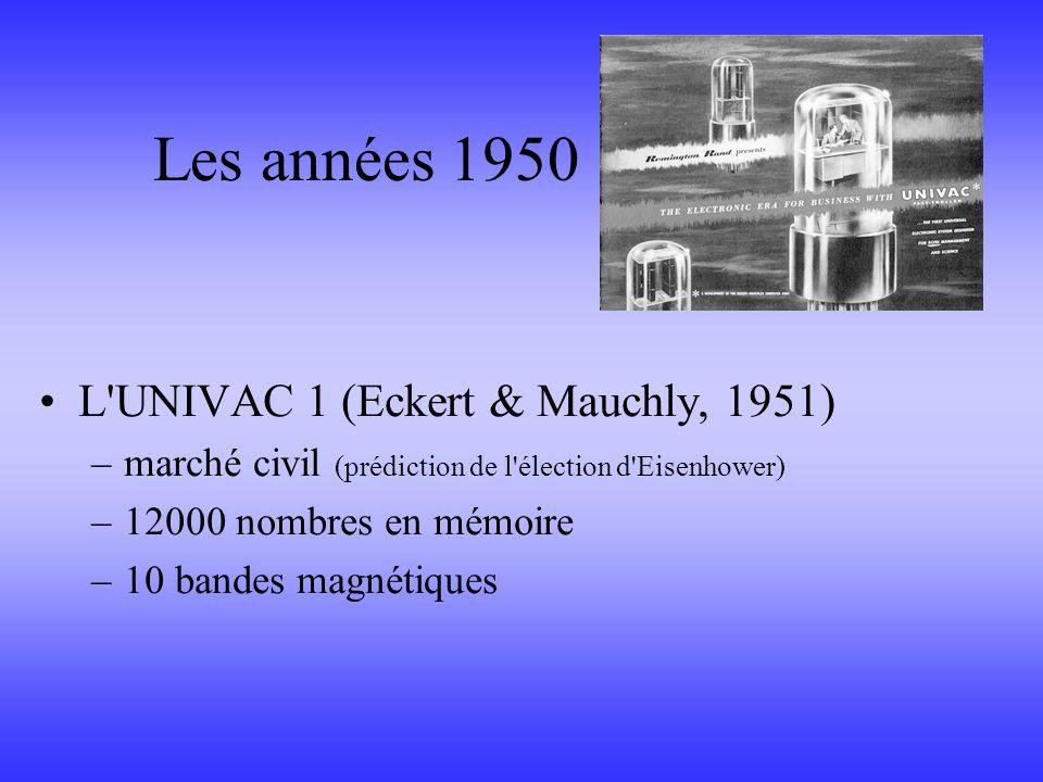 Les années 1950 L UNIVAC 1 (Eckert & Mauchly, 1951)