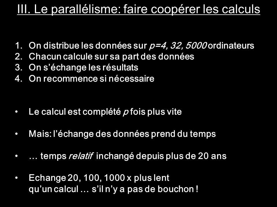 III. Le parallélisme: faire coopérer les calculs