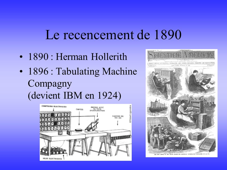 Le recencement de 1890 1890 : Herman Hollerith