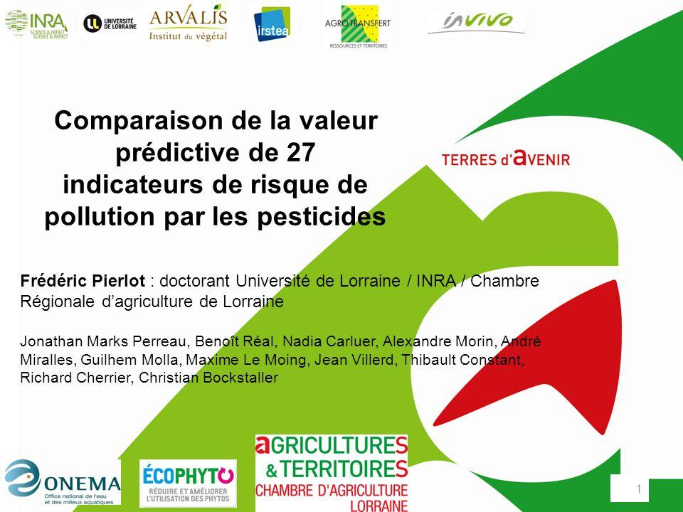 Comparaison de la valeur pr dictive de 27 indicateurs de risque de pollution par les pesticides - Chambre agriculture lorraine ...