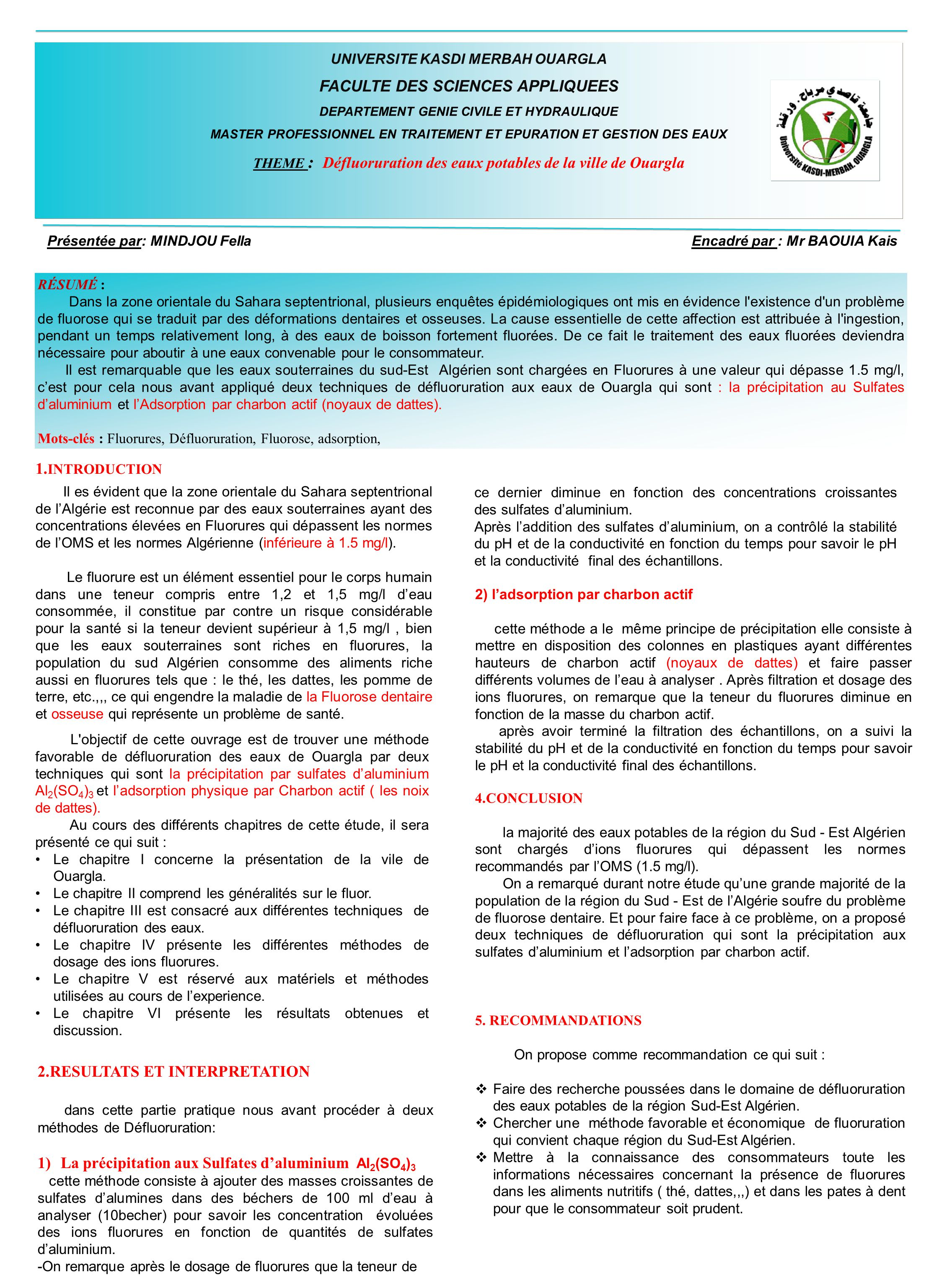 faculte des sciences appliquees