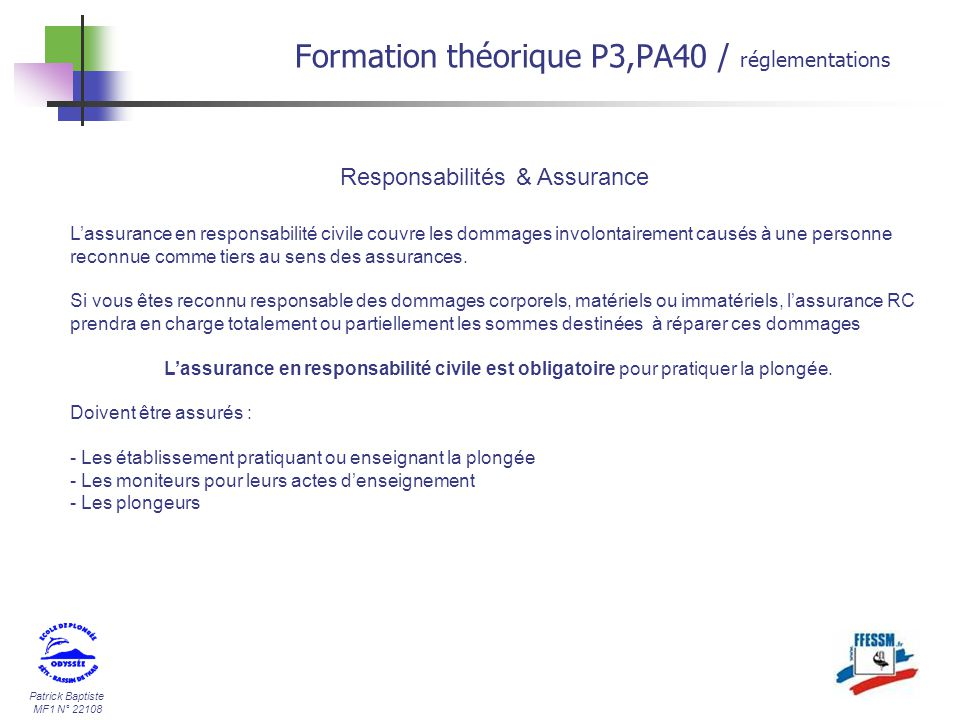 Formation th orique p3 pa40 ppt t l charger for Chambre de l assurance de dommages