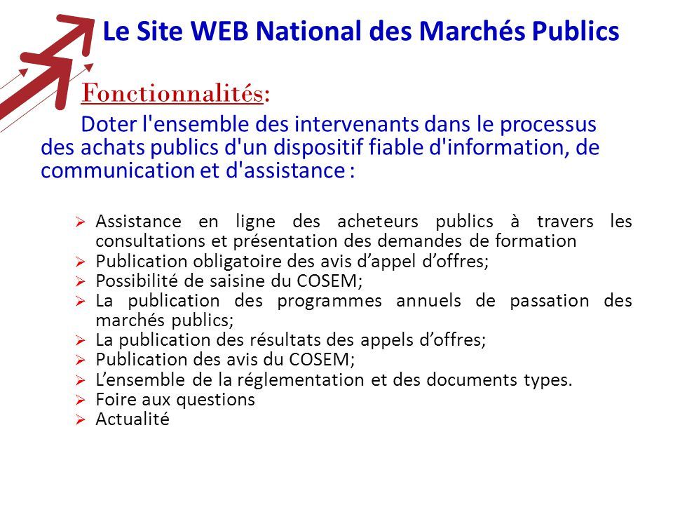Observatoire national des march s publics tunisie ppt - Office national de publication et de communication ...