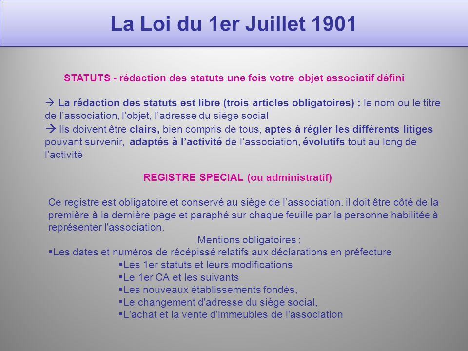 La loi du 1er juillet 1901 maryline nouchi formation - Changement de bureau association loi 1901 ...