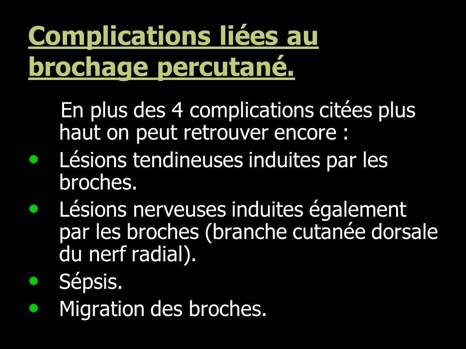 Complications liées au brochage percutané.