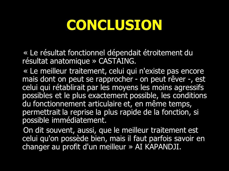 CONCLUSION « Le résultat fonctionnel dépendait étroitement du résultat anatomique » CASTAING.