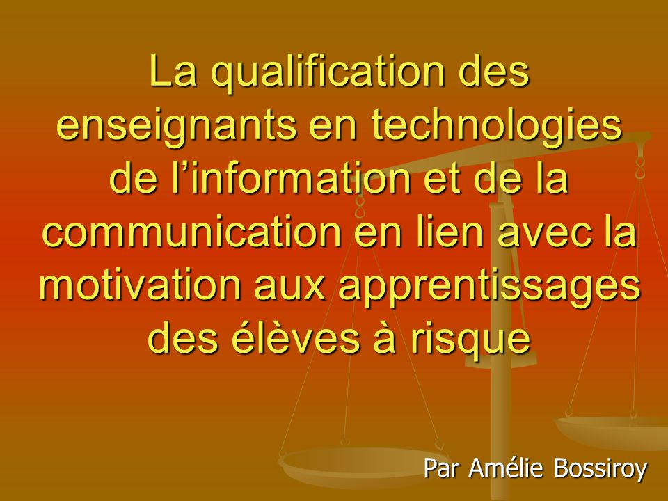 La qualification des enseignants en technologies de l ...
