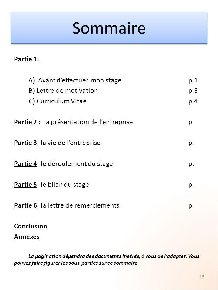 Sommaire Partie 1: A) Avant d'effectuer mon stage p.1