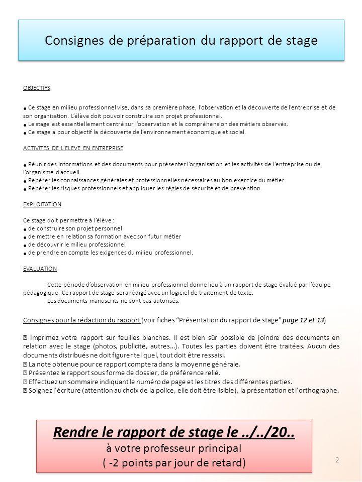 Consignes de préparation du rapport de stage