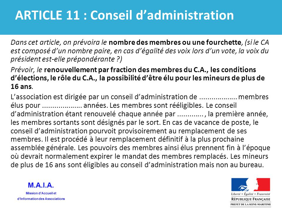 Statuts types commentes ppt t l charger - Renouvellement du bureau d une association loi ...