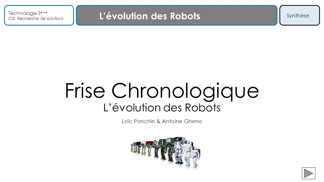 Frise Chronologique L'évolution des Robots