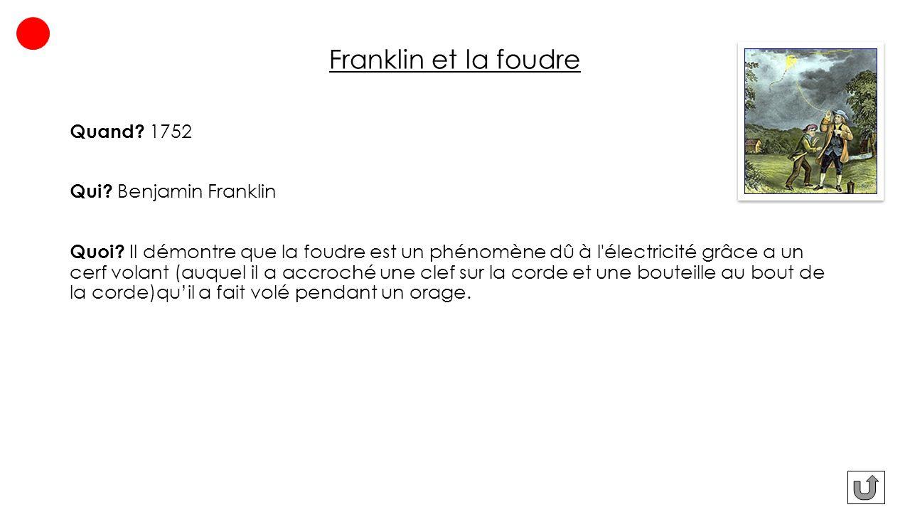 Franklin et la foudre Quand 1752 Qui Benjamin Franklin