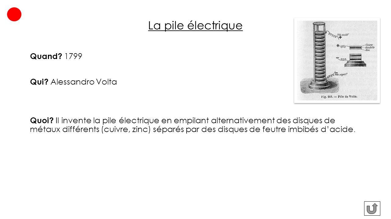 La pile électrique Quand 1799 Qui Alessandro Volta