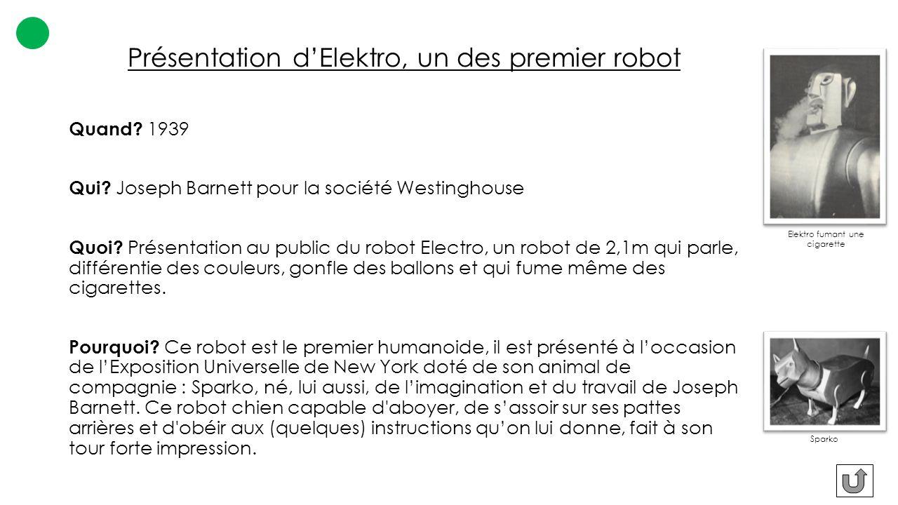 Présentation d'Elektro, un des premier robot