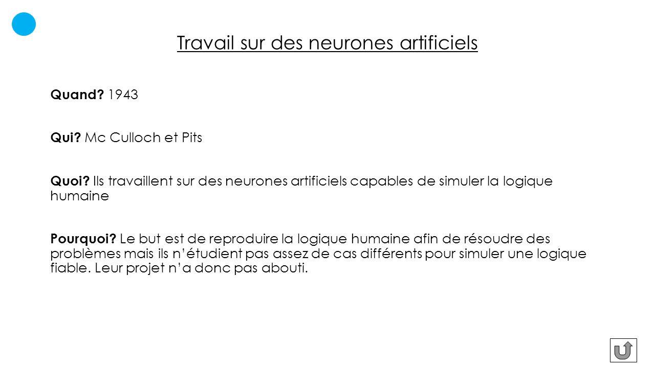 Travail sur des neurones artificiels