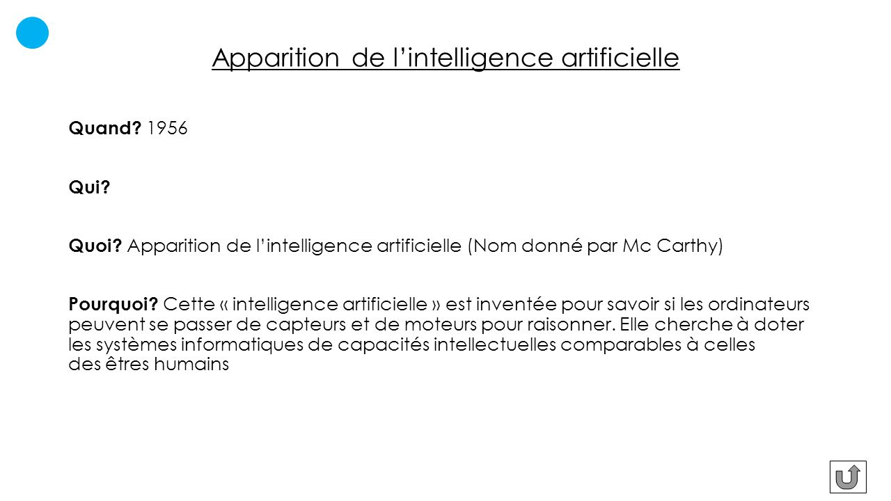 Apparition de l'intelligence artificielle