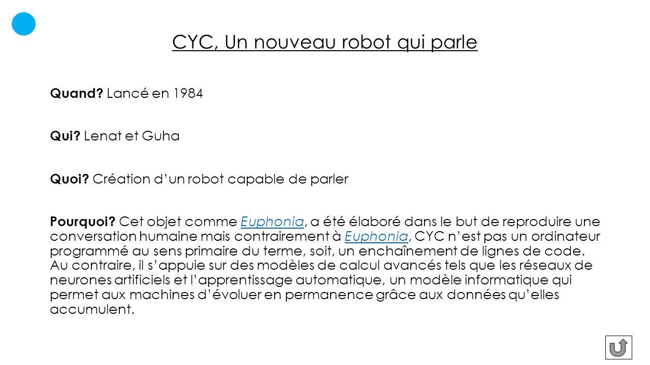 CYC, Un nouveau robot qui parle