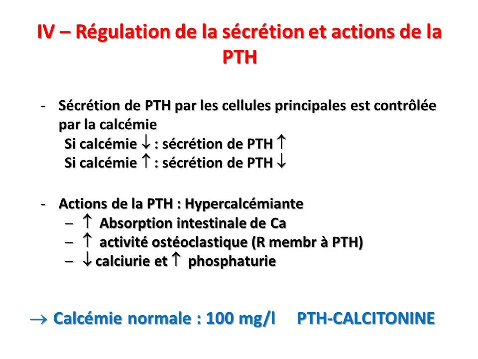 IV – Régulation de la sécrétion et actions de la PTH